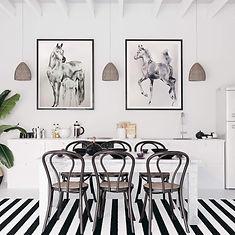 Hamptons Kitchen black horse watercolour