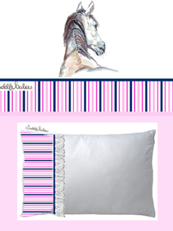 SaddleBabies baby girl pink horse art baby cot sheet set at Pony and Belle by, Belinda Baynes. Horse lover gift idea.