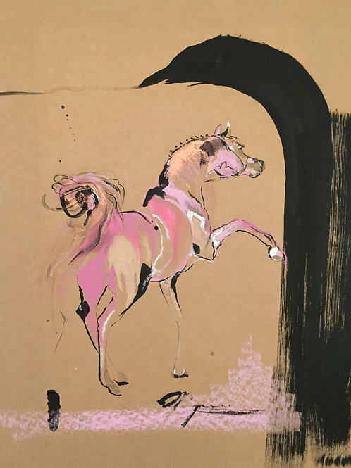 Abstract Baroque horse art painting of stallion by Belinda Baynes at Pony and Belle, Sydney