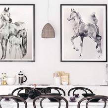 Black ink horse art by Belinda Baynes in Hamptons Kitchen