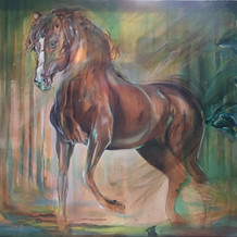 'Enigmatic' Large horse painting by Belinda Baynes