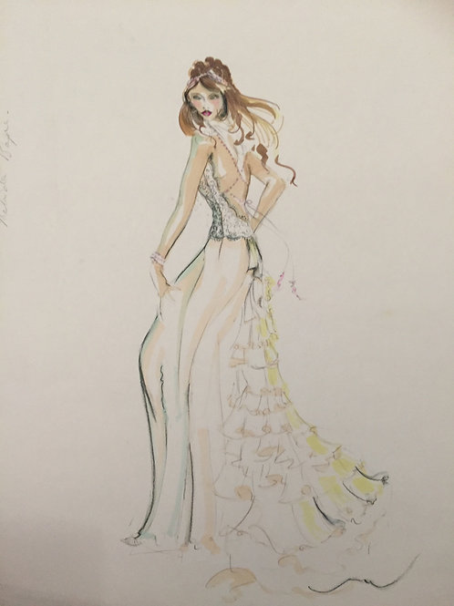 Wedding Bridal Fashion illustration art by Sydney artist & designer at Pony and Belle. Commission custom wedding bridal art