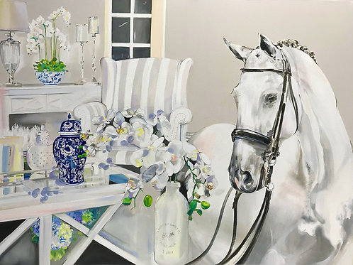 Hamptons Horse art original oil painting equestrian art by Sydney artist and designer, Belinda Baynes at Pony and Belle