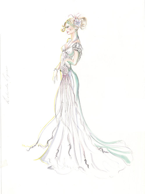 Bridal illustration wedding art by Sydney fashion illustrator and designer, Belinda Baynes. Request custom wedding art.