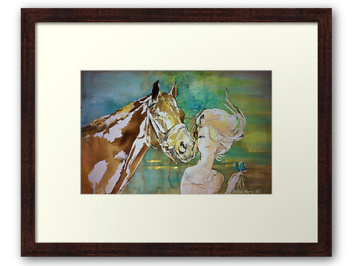 Sunshower horse art fashion art horse print by Sydney artist & designer, Belinda Baynes. Horse lover gift