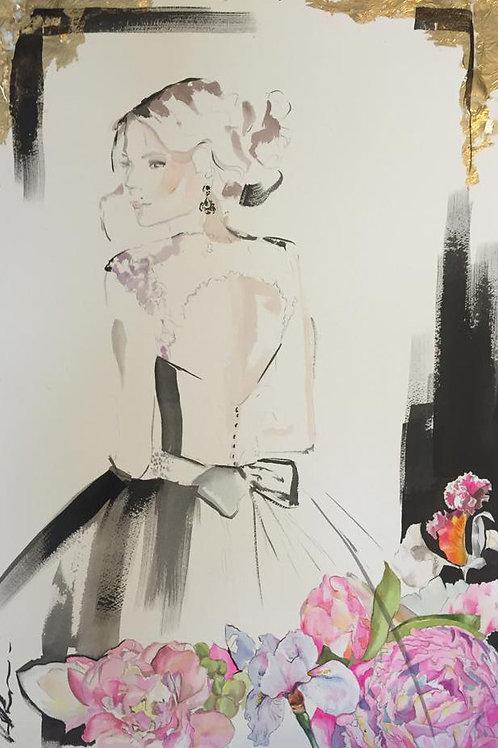 Fashion illustration wedding portrait in black ink, gold foil and beautiful wedding flowers by Belinda Baynes