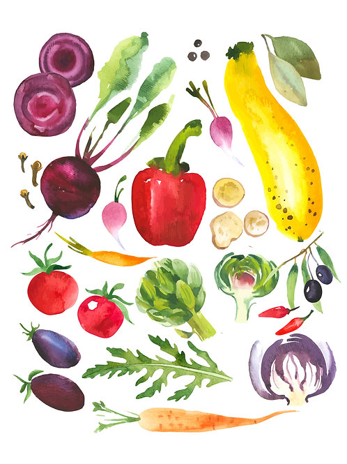 Vegetables & Fruit Vintage prints x2
