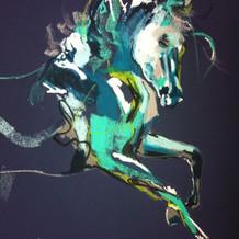 """Fight or Flight Blue"" horse art by Belinda Baynes"