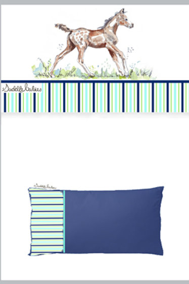 SaddleBabies horse baby boy blue & aqua cot sheet set at Pony and Belle Sydney. Fashionable horse lover gift for a new mum!