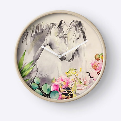 Horse clock gift idea of two beautiful horses nuzzling with koala. Perfect horse lover gift idea at Pony and Belle Sydney