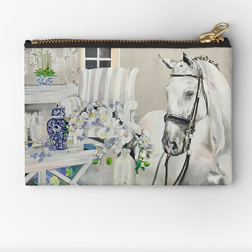 Hamptons Horse art print cosmetic purse. Beautiful horse lover gift idea at Pony and Belle by Belinda Baynes