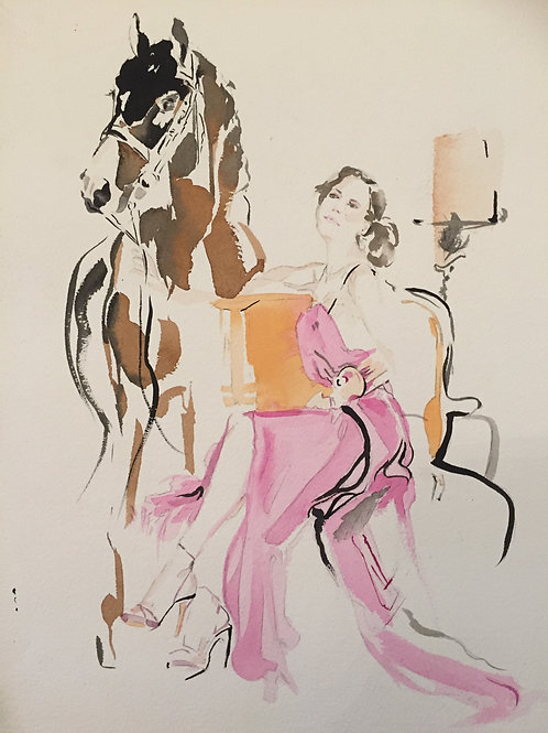 Equestrian beauty horse art fashion illustration. Fashionable life of dressage polo, Hermes, horses and equestrian fashion