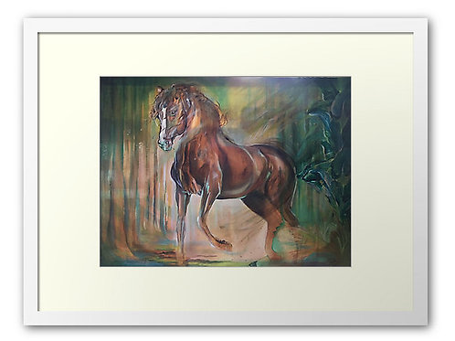 Horse art bay horse stallion in forest art print for any horse lover's home. Equestrian interior homewares horse art print