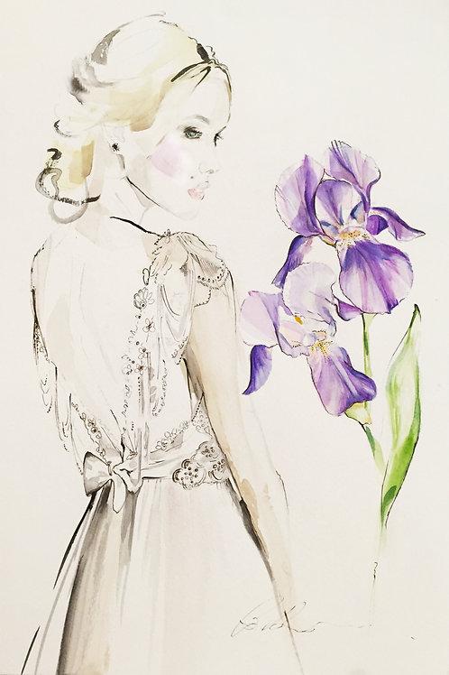 Wedding bridal fashion art wedding portrait in bridal gown with wedding flowers by Belinda Baynes at Pony and Belle Sydney