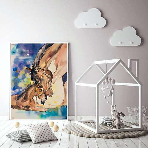 My Mum horse watercolour horse art print baby nursery mockup by Sydney artist and designer, Belinda Baynes at Pony and Belle