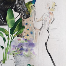 'Smoke and Mirrors' Equestrian fashion illustration by Belinda Baynes