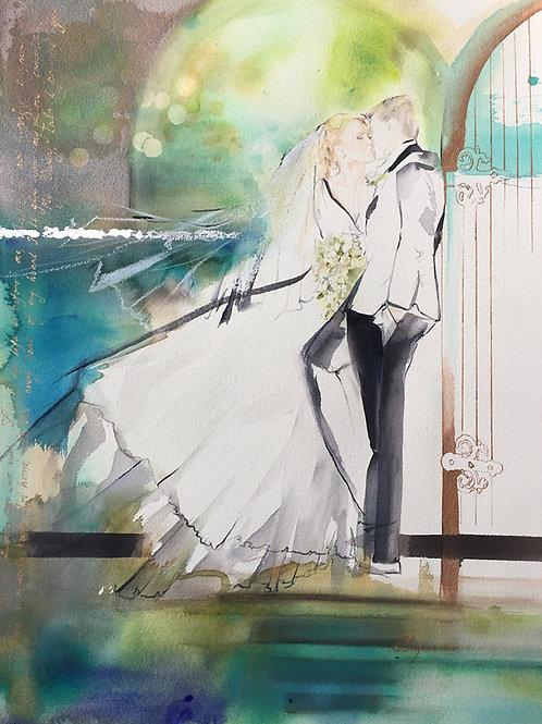 Commission a custom wedding Bridal artwork fashion illustration by Belinda Baynes. Unique Wedding bride Gift Idea