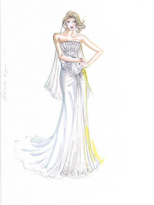 Wedding bridal fashion illustration by Sydney fashion designer and artist, Belinda Baynes at Pony and Belle Sydney