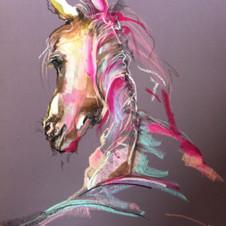 """Flight or Fight"" aubergine horse art by Belinda Baynes"