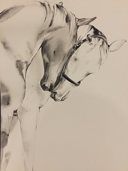 Horse art horse lover gift idea of loving horses nuzzling by Belinda Baynes at Pony and Belle