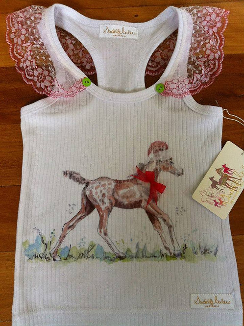 SaddleBabies horse art baby girl foal singlet at Pony and Belle. Horse lover gift idea for any new baby equestrian girl