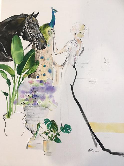 Original horse fashion illustration by Sydney artist & designer, Belinda Baynes at Pony and Belle