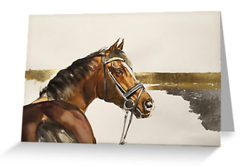 Horse art greeting card packs at Pony and Belle, Sydney. Beautiful bay horse with gold foil by Belinda Baynes