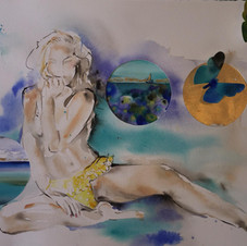 'Yellow Polka Dot Bikini' by Sydney artist and designer, Belinda Baynes