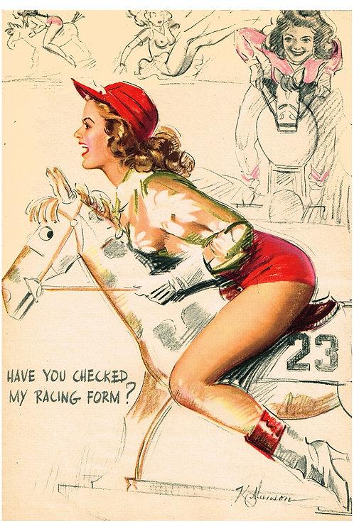 Vintage Equestrian pinup A3 print