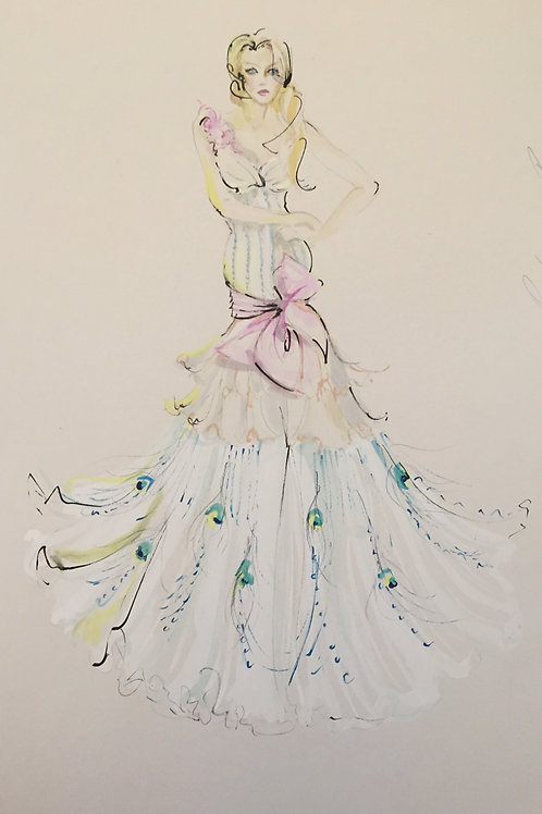 Bridal fashion illustration wedding fashion art by Belinda Baynes at Pony and Belle
