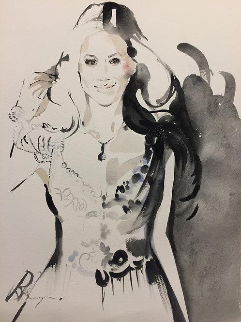 Megan Markle fashion illustration wedding art by Sydney artist & designer, Belinda Baynes. Royal watercolour wedding day.