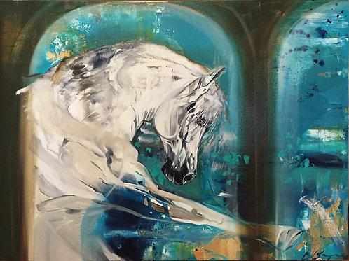 Beautiful grey horse abstract art painting