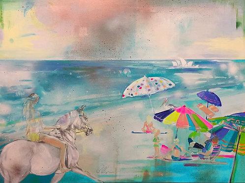 'The Australia I Knew' original abstract horse equine art Summer Beach Sydney scene with Opera House by Belinda Baynes