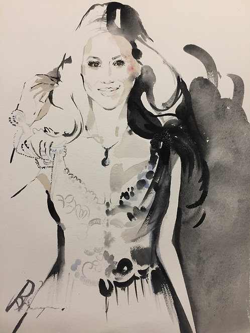 Meghan Markle original black ink watercolour wedding bridal art painting by Sydney artist, Belinda Baynes