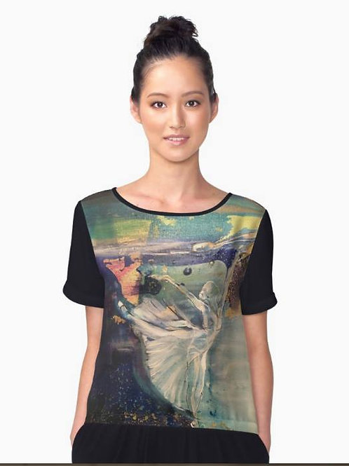 Swansong by Belinda Baynes ballet ballerina print on black shirt. Beautiful ballerina gift idea at Pony and Belle, Sydney