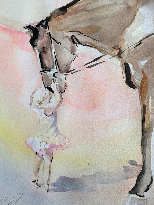 Horse lover art featuring a little girl kissing her horse on the nose. Horse lover gift idea. Horse art prints avaiable