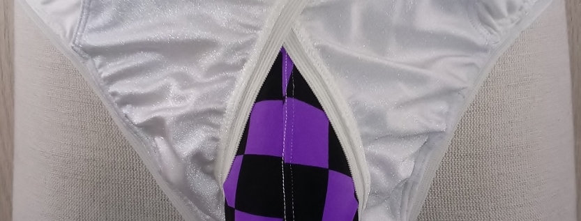 Purple Checkerboard Peek-a-Crotch Jokini