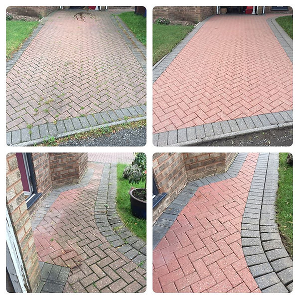 Before and After Drive Clean Pressure Washed by Thor Cleaning Services Cannock Hednesford