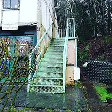 dirty iron stairs before