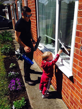 Window cleaning happy learning kid helper Thor Cleaning Services