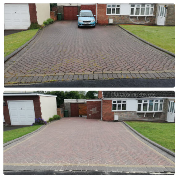 pressure washing big drive before & after