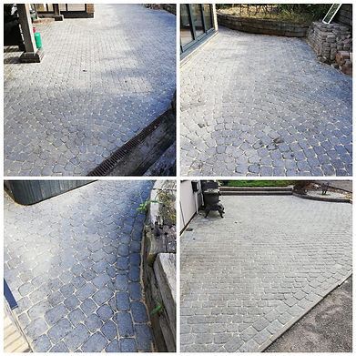 Clean pressure washed cobble stone patio