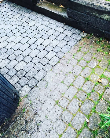 Pressure Washing cobble stones patio clean and dirty