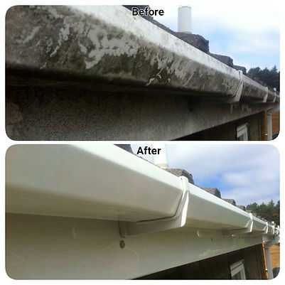 Guttering upvc Deep Clean before and after by Thor Cleaning Services