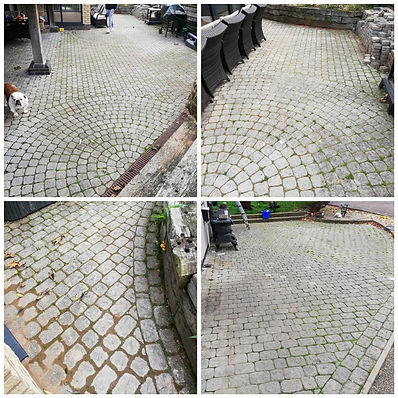 Dirty cobble stone patio before