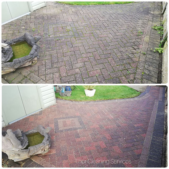 Patio block paving clean pressure wash before and after
