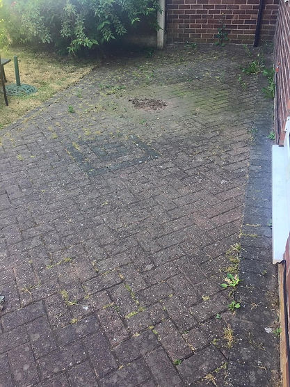 Dirty Patio Block Paving covered in weeds before picture Thor Cleaning Services