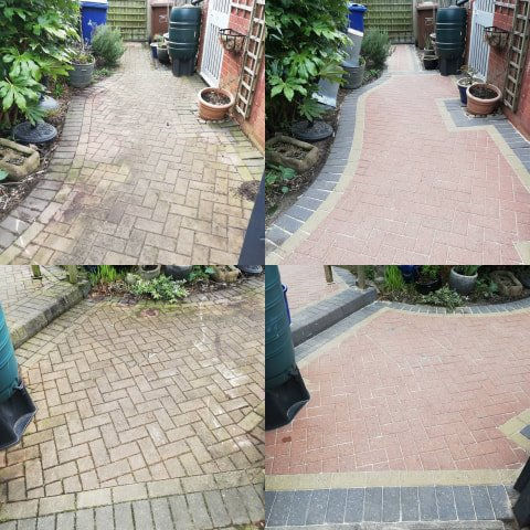 patio block paving clean before and after