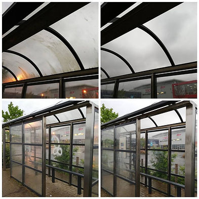 Bus stop shelter before and after clean