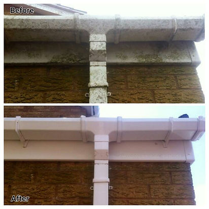 Before and After guttering gutter clean upvc deep clean by Thor Cleaning Services